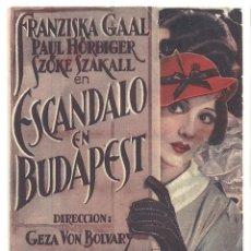 Folhetos de mão de filmes antigos de cinema: PTEB 044 ESCANDALO EN BUDAPEST PROGRAMA DOBLE TROQUELADO UNIVERSAL FRANCISKA GAAL. Lote 140029654