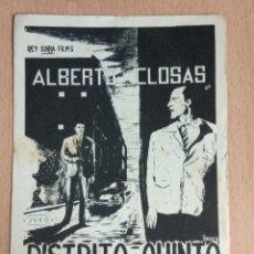 Cine: DISTRITO QUINTO 1958 - PROGRAMA DE MANO SENCILLO CON PUBLICIDAD. Lote 140040494