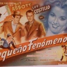 Cine: EL PEQUEÑO FENOMENO - PROGRAMA DE MANO GRANDE UNIVERSAL FILMS BUD ABBOTT Y LOU COSTELLO SIN PUBLI.. Lote 140057966
