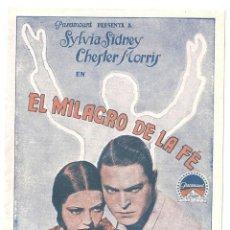 Cine: PTEB 044 EL MILAGRO DE LA FE PROGRAMA DOBLE PARAMOUNT SYLVIA SIDNEY CHESTER MORRIS. Lote 140134058