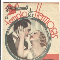 Cine: PTEB 044 EL TEMPLO DE LAS HERMOSAS PROGRAMA DOBLE PARAMOUNT CARY GRANT GENEVIEVE TOBIN HELEN MACK. Lote 140135186