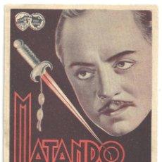 Cine: PTEB 045 MATANDO EN LA SOMBRA PROGRAMA DOBLE WARNER WILLIAM POWELL MARY ASTOR. Lote 140145458