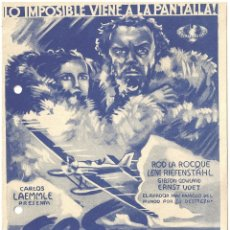 Cine: PTEB 045 S.O.S. ICEBERG PROGRAMA DOBLE GRANDE AZUL UNIVERSAL LENI RIEFENSTAHL ROD LA ROCQUE . Lote 140145610