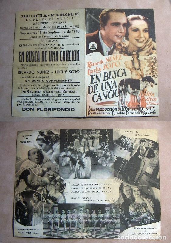 PROGRAMA DE MANO DOBLE EN BUSCA DE UNA CANCION 1940 PUBLICIDAD MURCIA PARQUE (Cine - Folletos de Mano - Musicales)