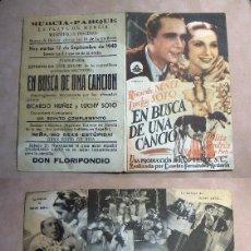 Folhetos de mão de filmes antigos de cinema: PROGRAMA DE MANO DOBLE EN BUSCA DE UNA CANCION 1940 PUBLICIDAD MURCIA PARQUE. Lote 140149070