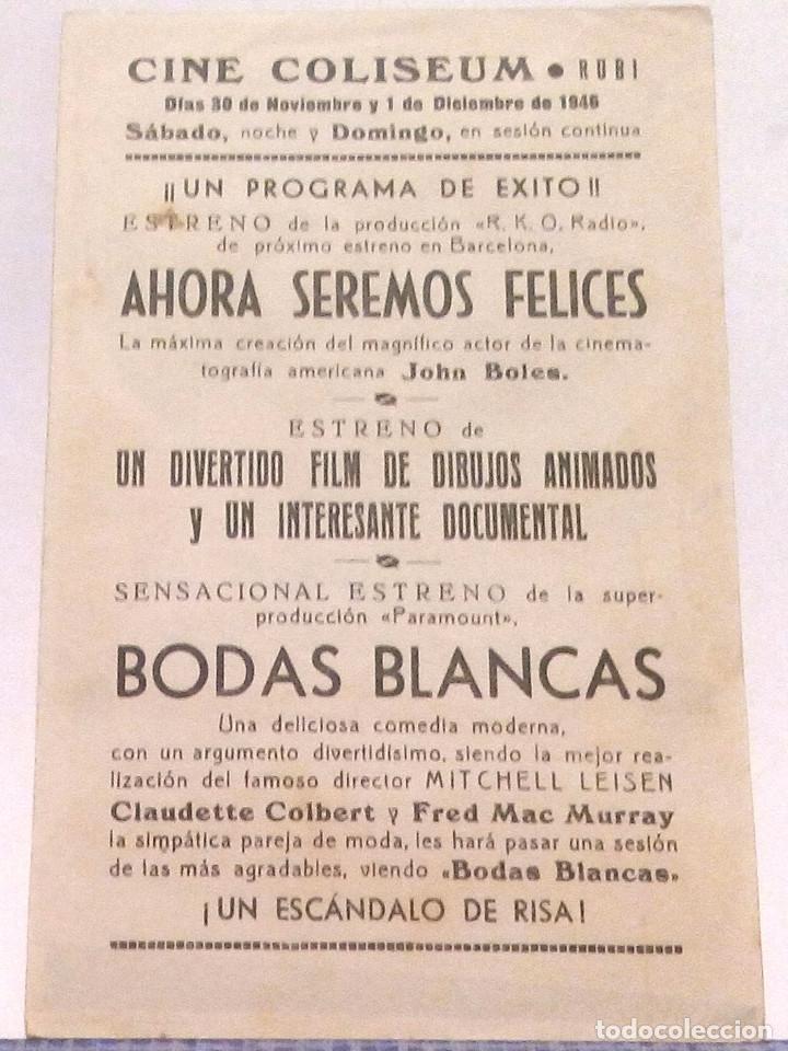 Cine: BODAS BLANCAS - PROGRAMA DE MANO CON PUBLICIDAD AL DORSO - CLAUDETTE COLBERT / FRED MCMURRAY - Foto 2 - 140192310