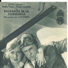 Cine: PTEB 049 SOLDADOS DE LA TORMENTA PROGRAMA TARJETA CIFESA ANITA PAGE REGIS TOOMEY D. Lote 140244810