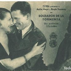 Cine: PTEB 049 SOLDADOS DE LA TORMENTA PROGRAMA TARJETA CIFESA ANITA PAGE REGIS TOOMEY B2. Lote 140250894