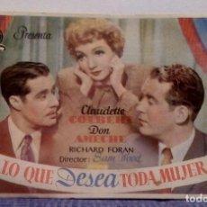 Cine: LO QUE DESEA TODA MUJER - CLAUDETTE COLBERT / DON AMECHE PROGRAMA DE MANO CON PUBLICIDAD AL DORSO. Lote 140299282