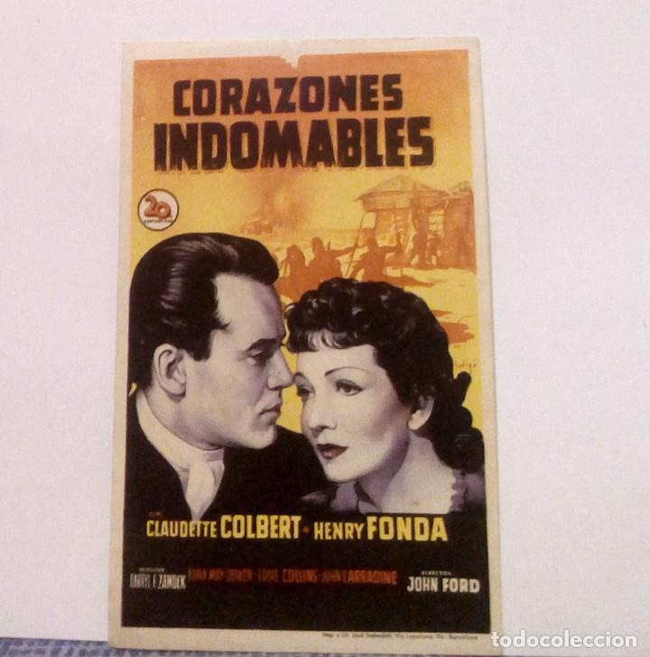 CORAZONES INDOMABLES - CLAUDETTE COLBERT / HENRY FONDA - PROGRAMA DE MANO SIN PUBLICIDAD AL DORSO (Cine - Folletos de Mano - Drama)