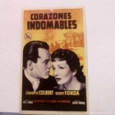Cine: CORAZONES INDOMABLES - CLAUDETTE COLBERT / HENRY FONDA - PROGRAMA DE MANO SIN PUBLICIDAD AL DORSO. Lote 140339514