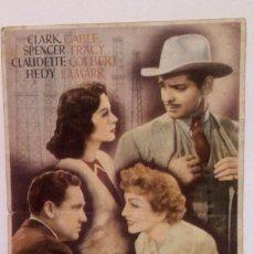 Cine: FRUTO DORADO - CLARK GABLE / SPENCER TRACY PROGRAMA DE MANO, FOLLETO CON PUBLICIDAD AL DORSO. Lote 140339890