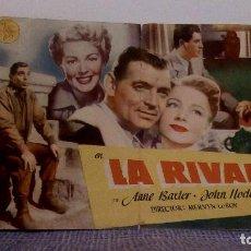Cine: LA RIVAL - CLARK GABLE / LANA TURNER / ANNE BAXTER - DÍPTICO, FOLLETO DE MANO DOBLE - VER FOTOS. Lote 140340010