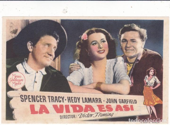 LA VIDA ES ASÍ CON SPENCER TRACY, HEDY LAMARR Y JOHN GARFIELD 1949 EN CINEMAS PRINCIPAL Y LA RAMBLA (Cine - Folletos de Mano - Comedia)