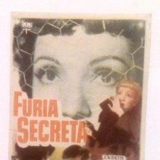 Cine: FURIA SECRETA - CLAUDETTE COLBERT / ROBERT RYAN - PROGRAMA DE MANO FOLLETO SIN PUBLICIDAD AL DORSO. Lote 140438874