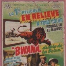 Cine: PROGRAMA DE CINE CATALUÑA DE MANRESA - BWANA DIABLO DE LA SELVA - ROBERT STACK B. BRITTON. Lote 140503782