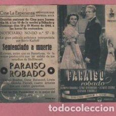 Cine: PROGRAMA DOBLE CINE LA ESPERANZA ARENYS DE MAR EMPRESA ROCA SENTENCIADO A MUERTE 1944. Lote 140506190