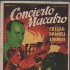 Cine: PROGRAMA CINE BESALÚ - CONCIERTO MACABRO - L. CREGAR L DARNELL - SANDERS 1948. Lote 140511482