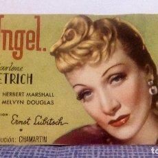 Cine: ANGEL - MARLENE DIETRICH - DIRECTOR: ERNST LUBITSCH - PROGRAMA DE MANO APAISADO SIN PUBLICIDAD. Lote 140516190