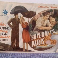 Cine: SUCEDIÓ EN PARIS - JOHN LODER, NANCY BURNE DIRECTOR ROBERT WYLER - PROGRAMA DE MANO SIN PUBLICIDAD. Lote 140548214