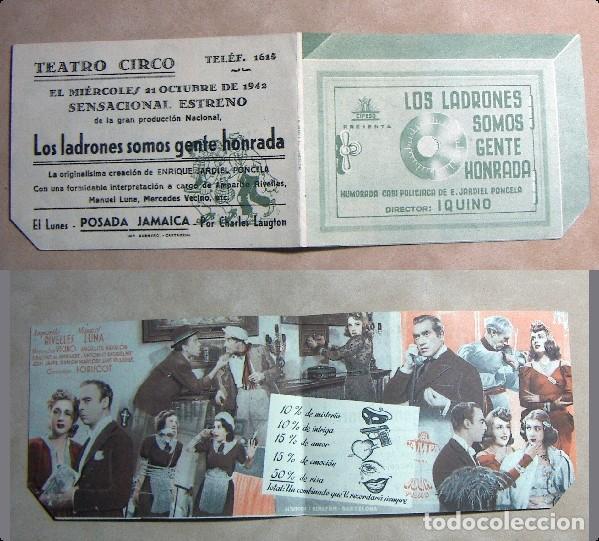PROGRAMA DE MANO DOBLE LOS LADRONES SOMOS GENTE HONRADA 1942 PUBLICIDAD TEATRO CIRCO (Cine - Folletos de Mano - Aventura)
