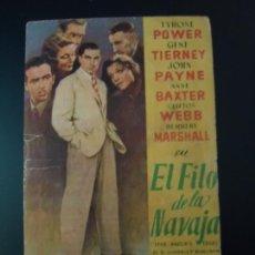 Cine: EL FILO DE LA NAVAJA. TYRONE POWER, GENE TIERNEY, JOHN PAYNE, ANNE BAXTER. C/P. DEL TEATRO PRINCIPAL. Lote 12380827