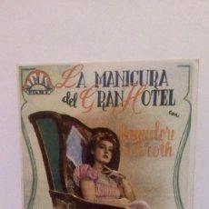 Cine: LA MANICURA DEL GRAN HOTEL - PROGRAMA DE MANO CON PUBLICIDAD AL DORSO DEL CINE GALERIA CONDAL. Lote 140607714