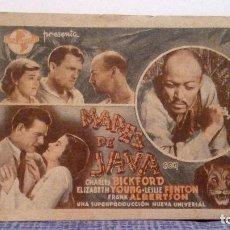 Cine: MARES DE JAVA - CHARLES BICKFORD / ELIZABETH YOUNG - PROGRAMA DE MANO CON PUBLICIDAD AL DORSO. Lote 140642166