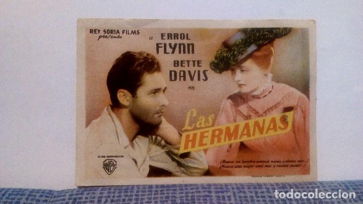 LAS HERMANAS - ERROL FLYNN / BETTE DAVIS - PROGRAMA DE MANO FOLLETO DE CINE CON PUBLICIDAD AL DORSO (Cine - Folletos de Mano - Drama)