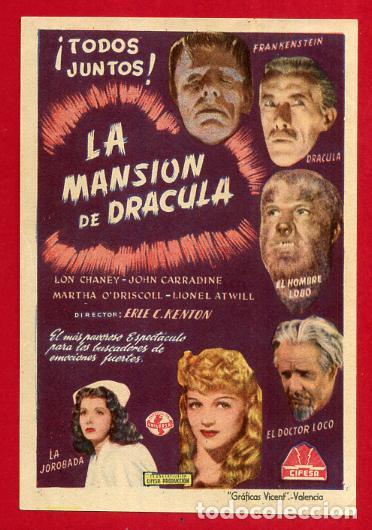 LA MANSION DE DRACULA , EL RARO , SENCILLO , ORIGINAL , PM10946 (Cine - Folletos de Mano - Terror)