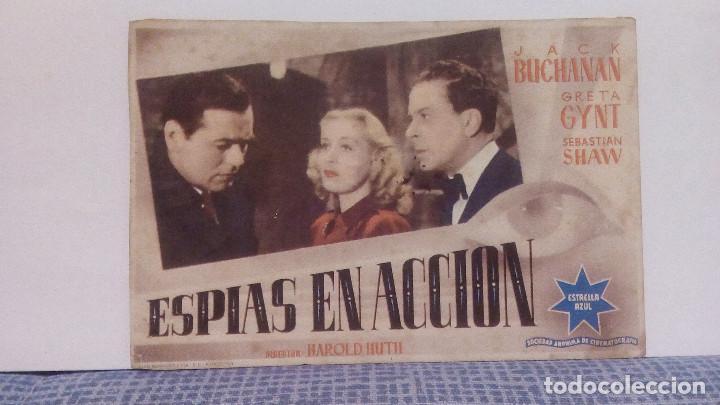 ESPIAS EN ACCION - JACK BUCHANAN / GRETA GYNT - PROGRAMA DE MANO / FOLLETO DE CINE CON PUBLICIDAD (Cine - Folletos de Mano - Suspense)