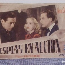 Cine: ESPIAS EN ACCION - JACK BUCHANAN / GRETA GYNT - PROGRAMA DE MANO / FOLLETO DE CINE CON PUBLICIDAD. Lote 140940410