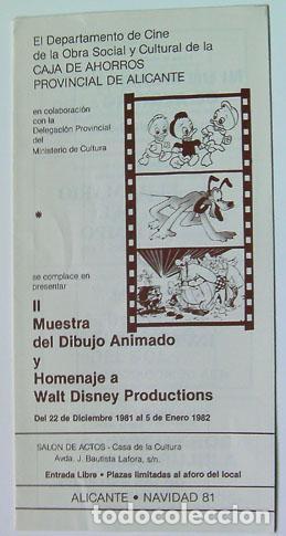 CINE NUESTRA DIBUJO ANIMADO HOMENAJE WALT DISNEY NAVIDAD 1981 CAJA AHORROS ALICANTE (Cine - Folletos de Mano - Infantil)