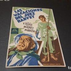 Cine: PROGRAMA DE MANO ORIG - LAS VACACIONES DEL JUEZ HARVEY - SIN CINE . Lote 141556422