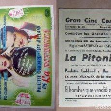 Cine: PROGRAMA DE CINE LA PITONISA 1945 PUBLICIDAD GRAN CINE CENTRAL. Lote 141566886