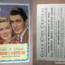 Cine: PROGRAMA DE CINE EL BAZAR DE LAS SORPRESAS 1945 PUBLICIDAD GRAN CINE CENTRAL. Lote 243694580