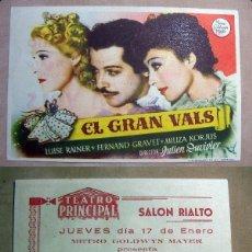 Cine: PROGRAMA DE CINE EL GRAN VALS 1943 PUBLICIDAD TEATRO PRINCIPAL SALON RIALTO. Lote 141574774