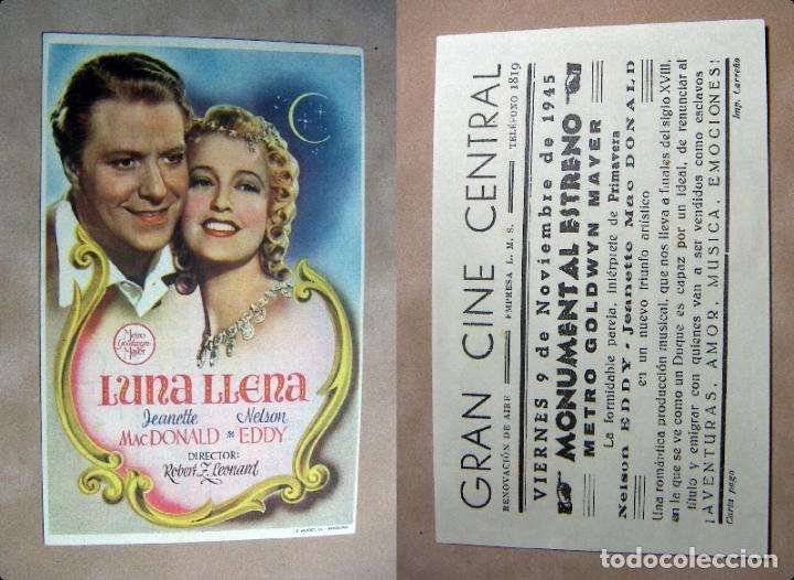 PROGRAMA DE CINE LUNA LLENA 1945 PUBLICIDAD GRAN CINE CENTRAL (Cine - Folletos de Mano - Comedia)