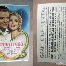 Cine: PROGRAMA DE CINE LUNA LLENA 1945 PUBLICIDAD GRAN CINE CENTRAL. Lote 141936650