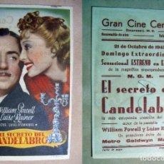 Cine: PROGRAMA DE CINE EL SECRETO DEL CANDELABRO 1945 PUBLICIDAD GRAN CINE CENTRAL. Lote 141943666