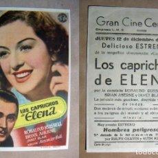 Cine: PROGRAMA DE CINE LOS CAPRICHOS DE ELENA 1946 PUBLICIDAD GRAN CINE CENTRAL. Lote 142058642