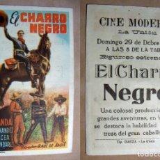 Folhetos de mão de filmes antigos de cinema: PROGRAMA DE CINE EL CHARRO NEGRO 1946 PUBLICIDAD CINE MODERNO LA UNION. Lote 142060046