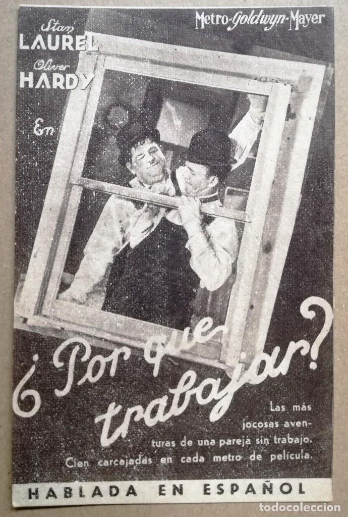 FOLLETO DE MANO TARJETA - POR QUE TRABAJAR - LAUREL Y HARDY - METRO (Cine - Folletos de Mano - Comedia)