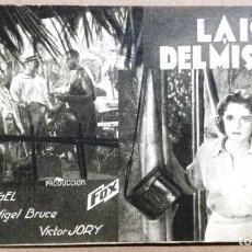 Cine: LA ISLA DEL MISTERIO, TARJETA FOX ORIGINAL AÑO 30, HEATHER ANGEL NIGEL BRUCE.TEATRO ALEGRIA TARRASA. Lote 142085122