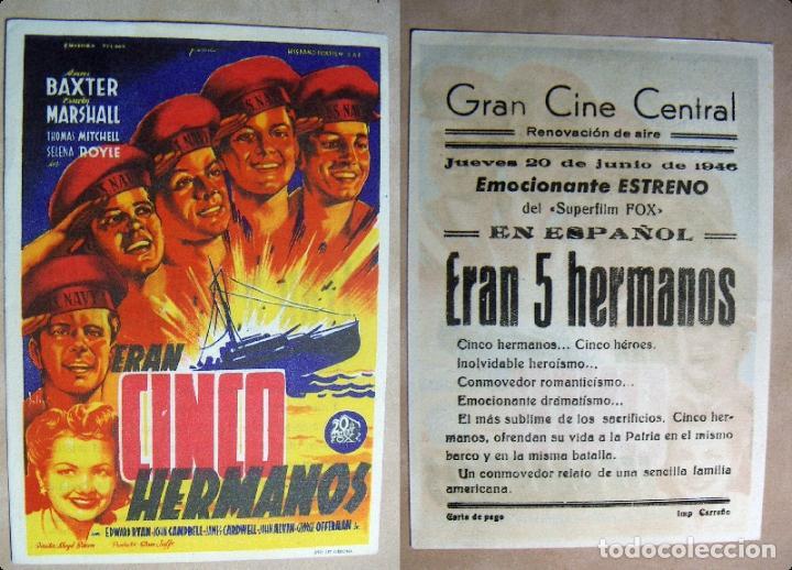 PROGRAMA DE CINE ERAN CINCO HERMANOS 1946 PUBLICIDAD GRAN CINE CENTRAL (Cine - Folletos de Mano - Bélicas)