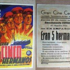 Cine: PROGRAMA DE CINE ERAN CINCO HERMANOS 1946 PUBLICIDAD GRAN CINE CENTRAL. Lote 142216670