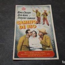Cine: PROGRAMA DE MANO ORIG - CAMINO DE RIO - CINE SAN VICENTE. Lote 142222422