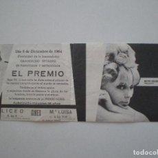 Cine: EL PREMIO PROGRAMA DE MANO DOBLE CON PUBLICIDAD LICEO CINES MERIDA 1964 // FOLLETO PAUL NEWMAN . Lote 142243802
