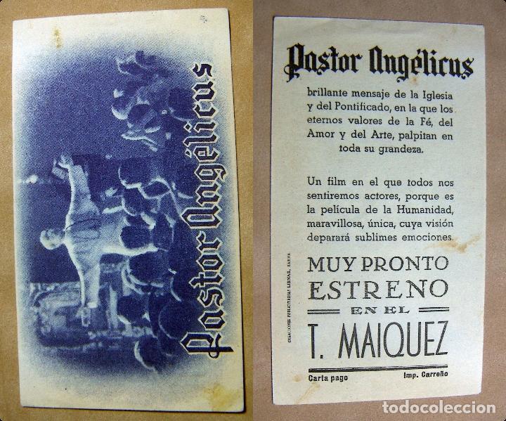 PROGRAMA DE CINE PASTOR ANGELICUS PUBLICIDAD TEATRO MAIQUEZ (Cine - Folletos de Mano - Clásico Español)