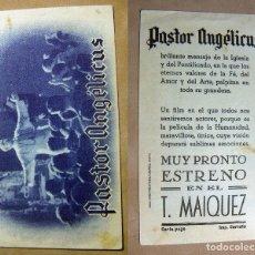 Folhetos de mão de filmes antigos de cinema: PROGRAMA DE CINE PASTOR ANGELICUS PUBLICIDAD TEATRO MAIQUEZ. Lote 142257938